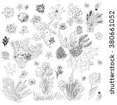 doodle set different flowers in ... | Shutterstock .eps vector #380661052