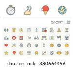 vector thin line icons set and... | Shutterstock .eps vector #380664496