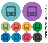 color bus flat icon set on...