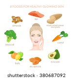 eight foods for healthy glowing ... | Shutterstock .eps vector #380687092
