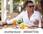 restaurant tourists couple... | Shutterstock . vector #380687536
