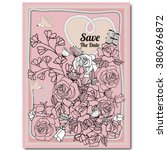 floral wedding invitation card...   Shutterstock .eps vector #380696872