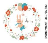 vector illustration  cute bunny ... | Shutterstock .eps vector #380702482