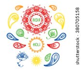 holi. india. big set with...   Shutterstock .eps vector #380705158