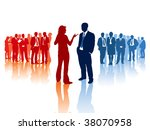 Meeting of two different business teams and their leaders - stock vector