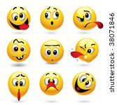 smiley balls showing funny face | Shutterstock .eps vector #38071846