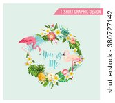 tropical flowers and flamingo... | Shutterstock .eps vector #380727142