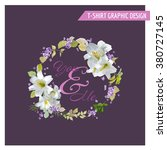 floral lily shabby chic graphic ... | Shutterstock .eps vector #380727145