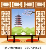 interior in the japanese style. ... | Shutterstock .eps vector #380734696