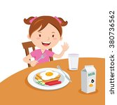 girl eating breakfast. vector... | Shutterstock .eps vector #380736562
