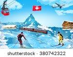alps matterhorn mountain...   Shutterstock .eps vector #380742322