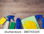 cleaning concept with supplies... | Shutterstock . vector #380743105