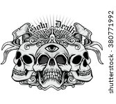 gothic coat of arms with skull  ... | Shutterstock .eps vector #380771992