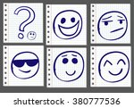doodle hand drawn smiles on... | Shutterstock .eps vector #380777536
