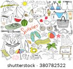 summer season doodles elements. ... | Shutterstock .eps vector #380782522
