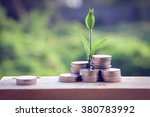 money and plant with hand with... | Shutterstock . vector #380783992