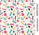 seamless pattern with signs ... | Shutterstock .eps vector #380825962