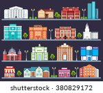 flat colorful  city buildings... | Shutterstock .eps vector #380829172