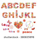 hippie floral alphabet with... | Shutterstock .eps vector #380835898