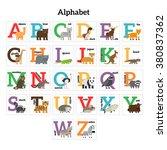 english animals zoo alphabet | Shutterstock . vector #380837362
