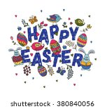 hand sketched happy easter text ... | Shutterstock .eps vector #380840056