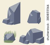 rock stone set   vector | Shutterstock .eps vector #380855566