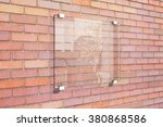 transparent signboard on red... | Shutterstock . vector #380868586