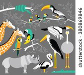jungle animals and birds set.... | Shutterstock .eps vector #380869846