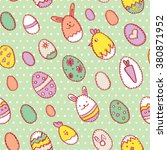 happy easter seamless pattern... | Shutterstock .eps vector #380871952