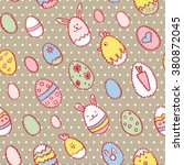 happy easter seamless pattern... | Shutterstock .eps vector #380872045