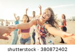 group of friends having fun and ... | Shutterstock . vector #380872402
