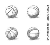 set of sketches of basketball... | Shutterstock .eps vector #380872525