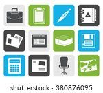 flat business and office icons  ... | Shutterstock .eps vector #380876095