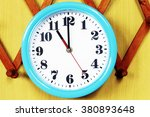 wall clock on the wood... | Shutterstock . vector #380893648