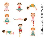 set of cartoon pregnant women... | Shutterstock .eps vector #380897482