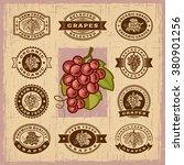 vintage grapes stamps set | Shutterstock . vector #380901256