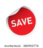 red vector sticker and text save | Shutterstock .eps vector #380903776