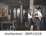 barista partner working coffee... | Shutterstock . vector #380911018