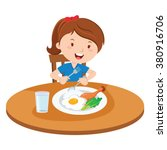 girl eating meal. vector... | Shutterstock .eps vector #380916706