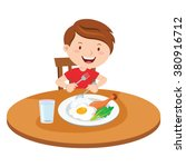 boy eating meal. vector... | Shutterstock .eps vector #380916712