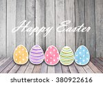 easter eggs colorful watercolor ... | Shutterstock . vector #380922616