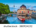 Stock photo beautiful view of unesco world heritage site museumsinsel museum island with excursion boat on 380924152