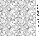 vector damask seamless 3d paper ... | Shutterstock .eps vector #380925976