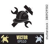 hammer and worker hat flat icon | Shutterstock .eps vector #380929582