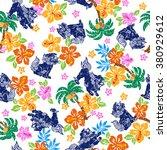 tropical flower orient lion... | Shutterstock .eps vector #380929612