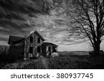 black and white photo of an old ... | Shutterstock . vector #380937745
