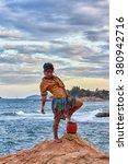 woman shaman standing on drum ... | Shutterstock . vector #380942716
