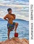 woman shaman standing on drum ... | Shutterstock . vector #380942752