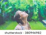 beautiful girl in the rain ....   Shutterstock . vector #380946982