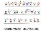 group of sketch kids | Shutterstock .eps vector #380951386